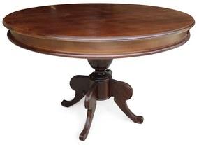 Mesa de Jantar Francesa Redonda Madeira Maciça Cor Imbuia Design Clássico