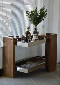 Aparador Bar Espelhado Prata e Madeira Maciça 100x75x60cm