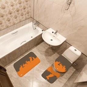 Jogo de Banheiro Páscoa Coelhos MarromÚnico