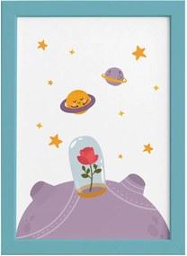 Quadro para Quarto Bebê Pequeno Principe Rosa Moldura Azul