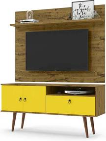 Rack Com Painel Topázio Para Tv 46 Polegadas Patrimar Nature/amarelo