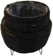 Vaso 19,5x20cm para Plantas com Suporte de Ferro Marrom ST50152 NDI