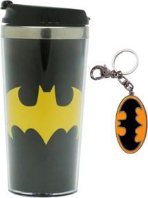 Kit Copo Térmico  e Chaveiro Batman Dc Comics Liga da Justiça