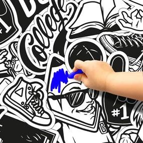Pinta e Apaga Graffiti - Papel de Parede Adesivo - Rolo = 52CM x 300CM