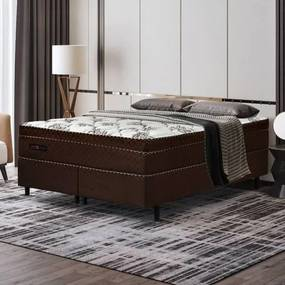 Cama Box Queen Size Manhattan com Molas Ensacadas 158x198x61cm - Marrom