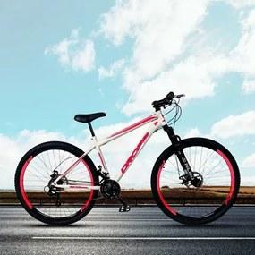 Bicicleta Aro 29 Quadro 17 Aço 21 Marchas Suspensão Freio a Disco Mecânico Branco/Vermelho - Dropp