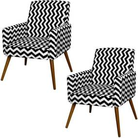 Kit 02 Poltronas Decorativas Lyam Decor Maria Zig Zag Preto