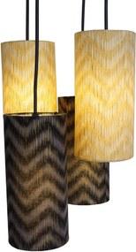 Lustre Pendente Luminária 4 Cúpulas Chevron Preto e Dourado