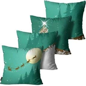 Kit com 4 Capas para Almofadas Premium Cetim Mdecore Natal Papai Noel Verde45x45cm
