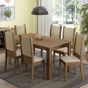 Conjunto Sala de Jantar Madesa Melissa Mesa Tampo de Madeira com 6 Cadeiras Rustic/Crema/Sintético Bege Cor:Rustic/Crema/Bege