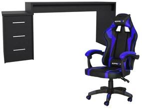 Conjunto PlayerXtreme PRO Mesa Preto Texturizado e Cadeira Gamer Azul - Gran Belo