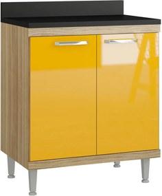 Balcão 2 Portas 700mm Sicília Argila-Texturizada e Amarelo-Gema Multimóveis