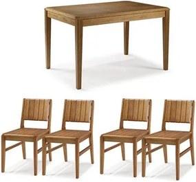 Conjunto Mesa Jantar Tampo Madeira + 4 Cadeiras Salvador Assento Madeira - 60475 Sun House