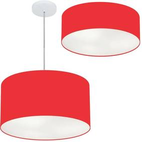 Kit Plafon Md-3014 Pendente Md-4049 Cúpula em Tecido 50cm Vermelho - Bivolt