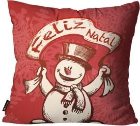 Capa para Almofada Premium Cetim Mdecore Natal Boneco de Neve Vermelha45x45cm