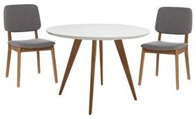 Conjunto Mesa Square Redonda Branco Fosco 80cm + 2 Cadeiras Dadi Cinza