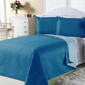 Cobre-Leito DOURADOS ENXOVAIS Dual Color Turquesa E Azul Claro Solteiro 02 Pçs
