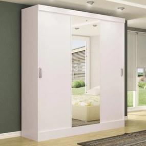 Guarda-Roupa Casal 3 Portas de Correr 100% Mdf Em. Plus com Espelho Branco - Maxel