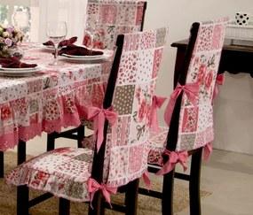 Toalha de Mesa Lara 2,10m x 1,40m + 06 Capas de Cadeira - Rosa