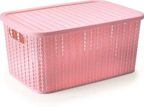 Caixa cesto organizador Trama 2,8L - Rosa