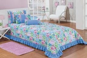 Cobre Leito Ciceralli Solteiro Patchwork Azul Para Menina com 5 peças - Enxovais Ibitinga