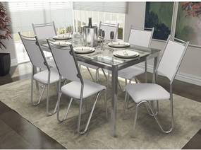 Conjunto Mesa Reno com 6 Cadeiras Londres Branco e Cromado Kappesberg Crome