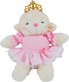 Ovelha de Pelúcia Carapinha Princesa com Coroa Vestido Rosa