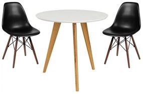 Conjunto Mesa Square Redonda 80cm Pés em Madeira Taeda + 2 Cadeiras Eiffel Preta