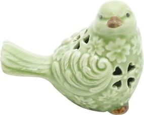 Pássaro Decorativo em Cerâmica Verde