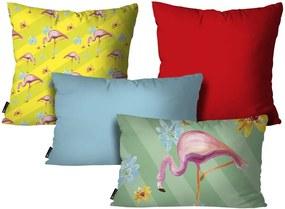 Kit com 4 Almofadas Flamingo ColoridoKit 4