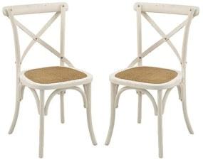 Conjunto 02 Cadeiras de Jantar Paris com Rattam Branco - Wood Prime AM 20017