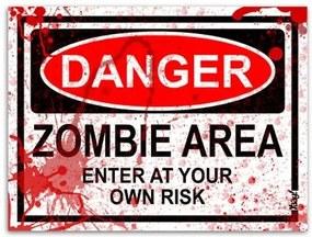 Placa - Danger Zombie Area