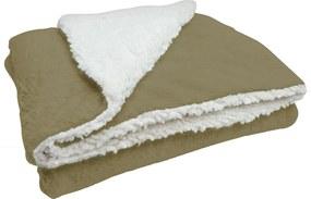 Cobertor Soft Bebê Dupla Face Macio Microfibra Bege e Sherpa Palha