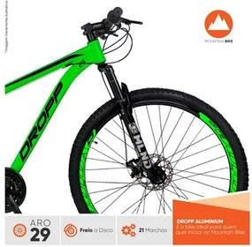 Bicicleta Aro 29 Quadro 21 Alumínio 21 Marchas Freio a Disco Mecânico Color Verde/Preto - Dropp