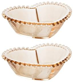 Jogo Bowls Cristal Coração 2 Peças Pearl Âmbar 15x13x5cm 28398 Wolff