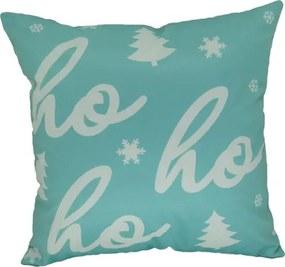 Capa almofada Veludo estampado Natal Hohoho Turquesa 43x43cm