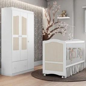 Quarto de Bebê Guarda Roupa e Berço Fantasy Branco/Telinha - Móveis Estrela