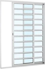 Porta de Alumínio de Correr Alumifort Branca com Divisão 2 Folhas Abertura Direita 216x160x8,7 - Sasazaki - Sasazaki