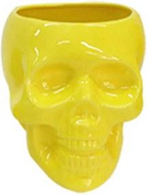 Pote sem Tampa Skull Amarelo Brilhante Grande em Cerâmica - Urban