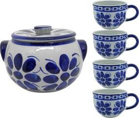 Jogo de Sopa em Porcelana Azul Colonial 5 peças