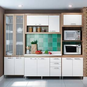 Cozinha Compacta 11 Portas Com Tampo e Vidro 5713 Branco/Argila - Multimóveis