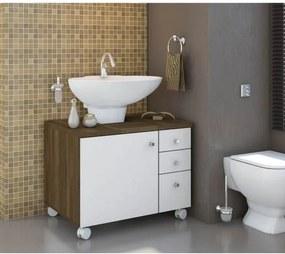 Gabinete de Banheiro 1 Porta 3 Gavetas e Rodízios - Cedro/Branco