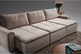 Sofá 5 Lugares Assento Retrátil  - Luxo Suede Bege