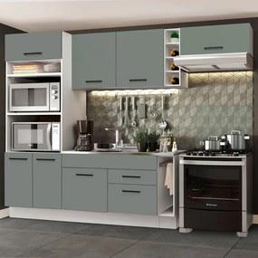 Cozinha Completa Madesa Agata 290002 com Armário e Balcão (Sem Tampo e Pia) Branco/Cinza Cor:Branco/Cinza