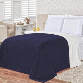 Cobertor Queen 2,40m X 2,20m Manta Microfibra E Sherpa Com Toque De Lã de Carneiro Alaska - Marinho