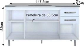 Balcão Lumil Móveis Gabinete de Pia 150cm Lisboa 4pts 2gav Branco