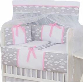 Kit Para Mini Berço I9 Baby 8 Peças 100% AlgodÁo Nuvem Cinza C/Rosa