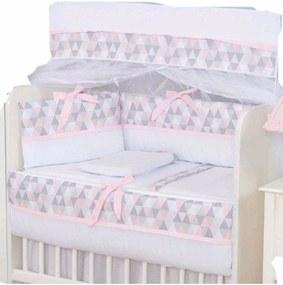 Kit Para Mini Berço I9 Baby 100% AlgodÁo Losango Rosa