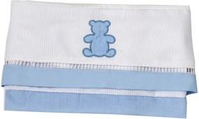 Jogo De Lençol De Carrinho Padroeira Baby Realeza Azul Bebê