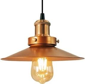 Luminária Pendente Chapéu Nordic Cobre Industrial - Soq: E27 / Tam: 22x12cm